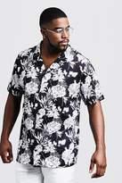 BoohooMAN Big & Tall Mono Floral Revere Jersey Shirt