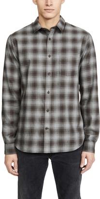 Vince Cotton Twill Plaid Long Sleeve Shirt