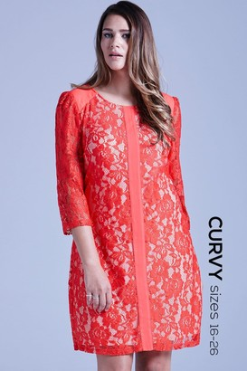 Little Mistress Curvy Curvy Coral Lace Overlay Tunic Dress