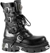 New Rock Unisex Metallic Leather Goth Biker Emo Fashion Calf Length Boots