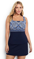 Classic Women's Plus Size Underwire Squareneck Tankini Top Control-Scuba Blue Foulard Stripe