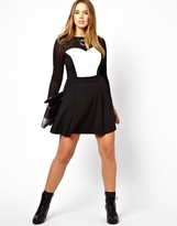 Asos Exclusive Skater Dress With Leather Look Sweetheart