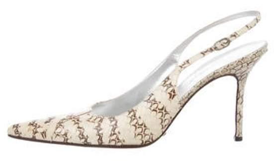 Dolce & Gabbana Snakeskin Slingback Pumps brown Snakeskin Slingback Pumps