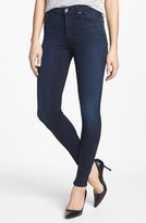 7 For All Mankind® High Rise Skinny Jeans (Black Weft Dark Blue)