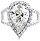 18K White Gold Micro Pave 4.58ct Pear Shaped Diamond Engagement Ring