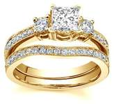 FineTresor 1.25 Carat Princess Diamond Engagement Ring Bridal Set on 14K Yellow Gold