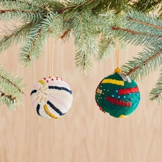 west elm Embroidered Felt Ball Ornaments