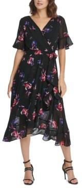 DKNY Printed High-Low Midi Dress