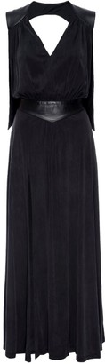 Lahive Olivia Long Black Knit & Leather Maxi Dress