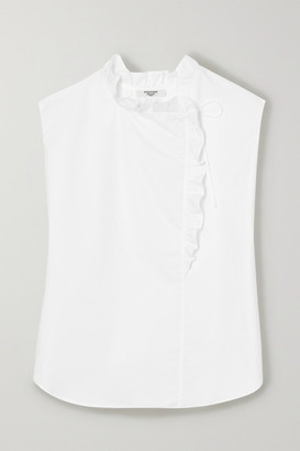 Atlantique Ascoli Ruffled Cotton-poplin Blouse - White