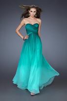 La Femme 18497 Strapless Ombre Chiffon Evening Gown