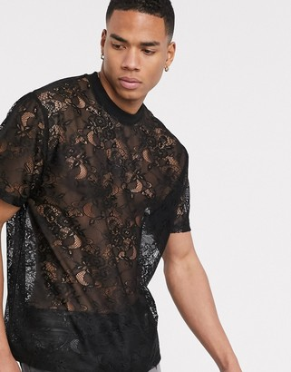 ASOS DESIGN relaxed t-shirt in black lace