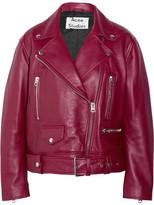 Acne Studios Merlyn Oversized Leather Biker Jacket - Burgundy