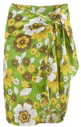 Dodo Bar Or Mosa Tie-front Floral-print Cotton Skirt - Green Print