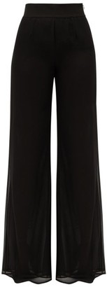 Galvan Double-layered Georgette Wide-leg Trousers - Black