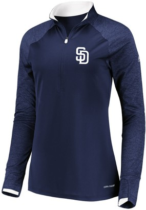 Majestic Women's Navy San Diego Padres Extremely Clear Cool Base Raglan 1/2-Zip Jacket