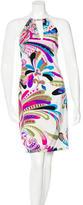 Versace Abstract Print Halter Dress