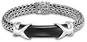 John Hardy Sterling Silver Classic Chain Black Onyx Bar Chain Link Bracelet