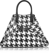 Akris Ai Medium Black and White Pied de Poule Printed Leather Tote Bag