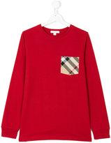 Burberry check pocket sweatshirt - kids - Cotton - 14 yrs