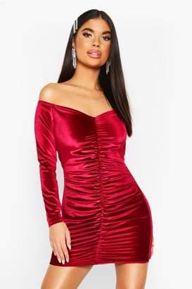 boohoo Petite Ruched Velvet Bodycon Dress