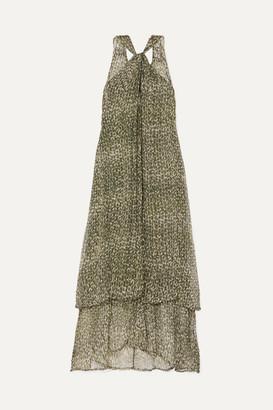 CLOE CASSANDRO + Net Sustain Ruby Layered Printed Silk-crepon Maxi Dress - Army green