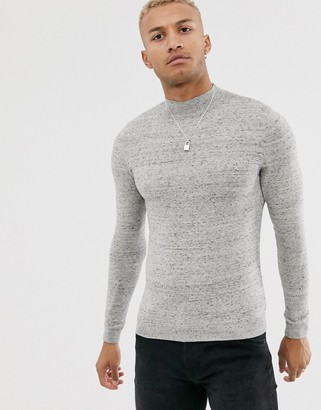 Asos DESIGN cotton turtle neck jumper in light grey marl