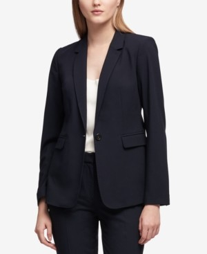 DKNY Petite Pick-Stitch Single-Button Blazer