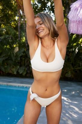 Nasty Gal Womens What Do You Sea Textured Bikini Bottoms - Cream