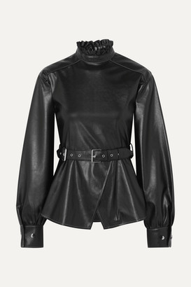 ANDERSSON BELL Belted Ruffled Vegan Leather Top - Black