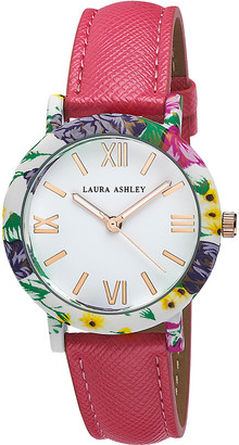 Laura Ashley Women's Watches - Pink & Jewel-Tone Floral Strap Watch