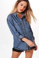 boohoo Petite Lydia Denim Shirt blue