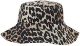 Ganni Leopard Print Cotton Poplin Bucket Hat