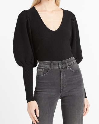 Express Extreme Balloon Sleeve V-Neck Sweater