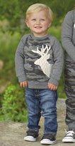 Mud Pie Boys Little Deer Camo Sweatshirt with Stag Deer Applique