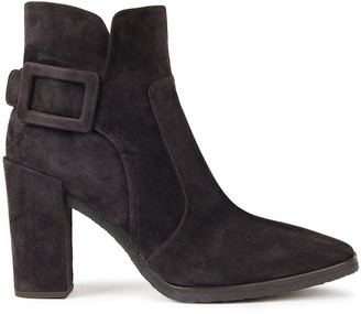Roger Vivier Buckled Suede Ankle Boots