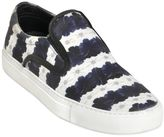 Mother of Pearl Floral Stripe Satin Slip On Sneakers