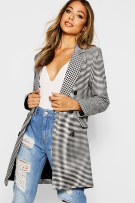 boohoo Dogtooth Double Breasted Blazer