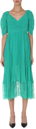 Self-Portrait Pleated Lace Trim Dress