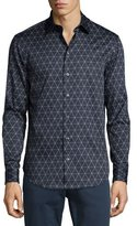 Armani Collezioni Triangle Line-Print Long-Sleeve Sport Shirt, Navy