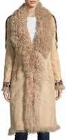 Haute Hippie Embroidered Shearling Coat, Buff