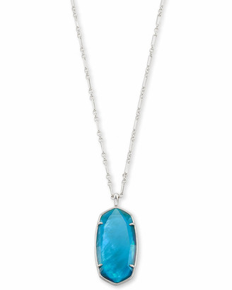 Kendra ScottKendra Scott Faceted Reid Silver Long Pendant Necklace in Peacock Blue Illusion