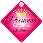 mybabyonboard UK Princess Cordelia On Board Personalised Girl Car Sign Baby / Child Gift 001