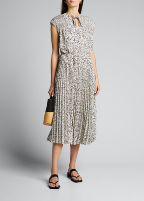 Jason Wu Printed Tie-Neck Pleated Skirt Dress