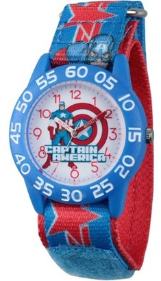Marvel Avengers Assemble Captain America Boys' Blue Plastic Time Teacher Watch, Blue and Red Hook and Loop Captain America Stretchy Nylon Strap