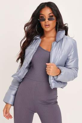I SAW IT FIRST Grey Padded High Shine Cropped Coat