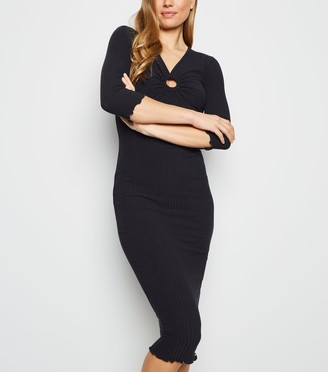 New Look Ring Front Ribbed Bodycon Midi Dress