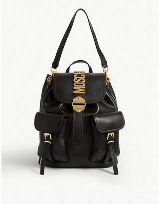 Moschino Logo detail leather backpack