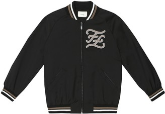 Fendi Logo stretch-wool bomber jacket