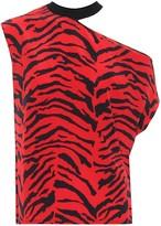 RtA Axel printed silk off-shoulder top